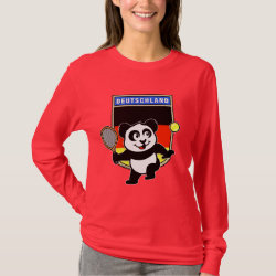 Women's Basic Long Sleeve T-Shirt with German Tennis Panda design
