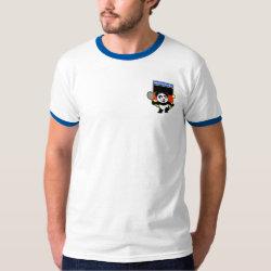 Men's Basic Ringer T-Shirt with German Tennis Panda design
