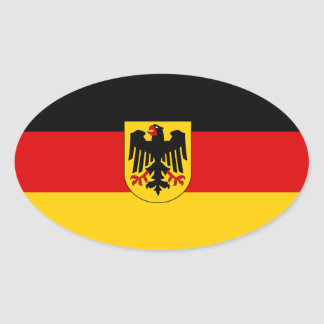 Germany Tricolor with Coat of Arms Oval Sticker