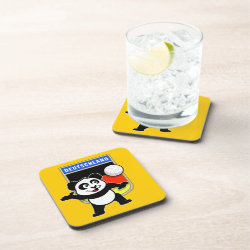 Beverage Coaster with German Volleyball Panda design