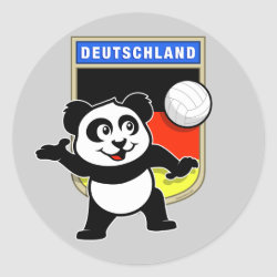 German Volleyball Panda Round Sticker