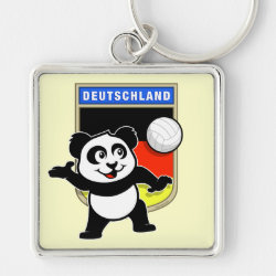 Premium Square Keychain with German Volleyball Panda design