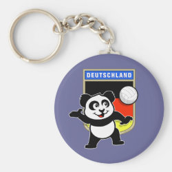 Basic Button Keychain with German Volleyball Panda design