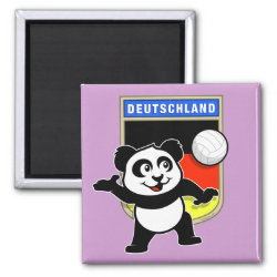 Square Magnet with German Volleyball Panda design