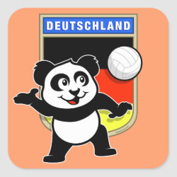 Square Sticker with German Volleyball Panda design