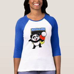 Ladies Raglan Fitted T-Shirt with German Volleyball Panda design