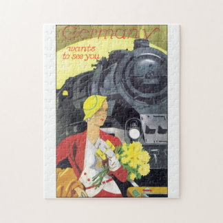 Germany Wants to See You Vintage Travel Poster Jigsaw Puzzle