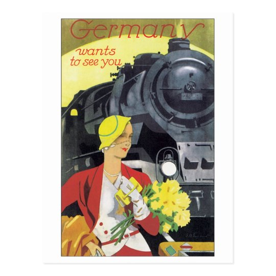 Germany Wants to See You Vintage Travel Poster Postcard