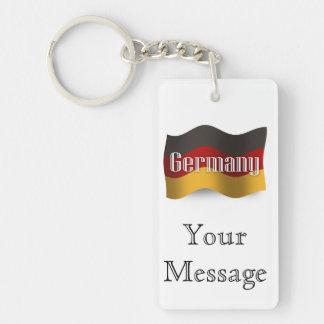 Germany Waving Flag Double-Sided Rectangular Acrylic Keychain