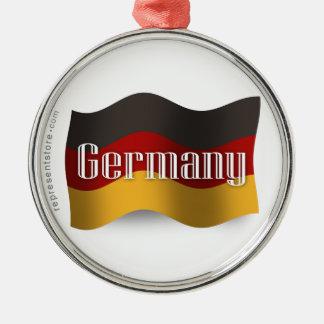 Germany Waving Flag Metal Ornament