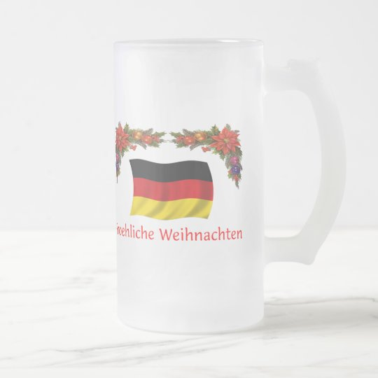 GermanyChristmas Frosted Glass Beer Mug