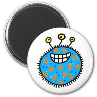 Germen azul del dibujo animado imán redondo 5 cm