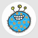 Germen azul del dibujo animado pegatinas redondas