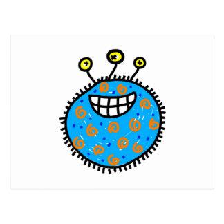Germen azul del dibujo animado postal