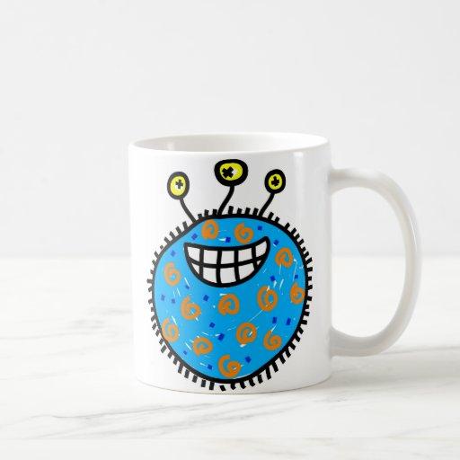 Germen azul del dibujo animado tazas de café
