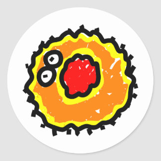 Germen rojo del dibujo animado de la boca etiquetas redondas