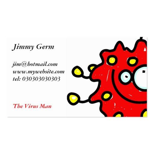 Germen rojo del dibujo animado tarjetas de visita