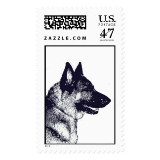Germen Shepherd 2 Postage Stamp