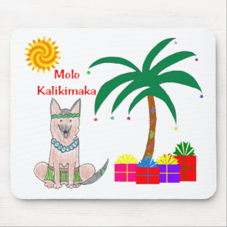 Germman Shepherd Dog Hawaiian Christmas Mouse Pad