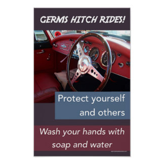 Germs hitch rides. Educational hand-washing safety Poster
