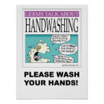 Germs Talk About Hand-washing poster