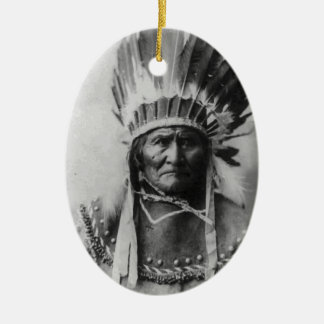Geronimo Double-Sided Oval Ceramic Christmas Ornament