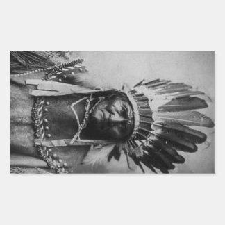 Geronimo en el vestido principal pegatina rectangular