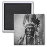 Geronimo en indio principal del vintage del imán cuadrado