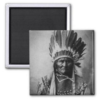 Geronimo en indio principal del vintage del vestid imán cuadrado