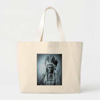 Geronimo in Head Dress Vintage Cyan Canvas Bags