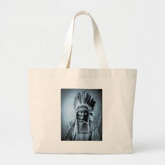 Geronimo in Head Dress Vintage Cyan Large Tote Bag
