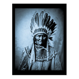 Geronimo in Head Dress Vintage Cyan Postcard