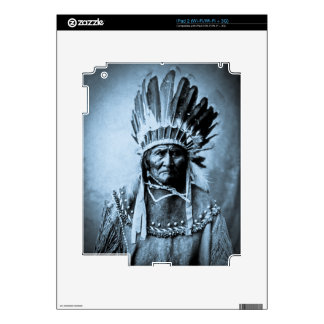 Geronimo in Head Dress Vintage Cyan Decals For The iPad 2