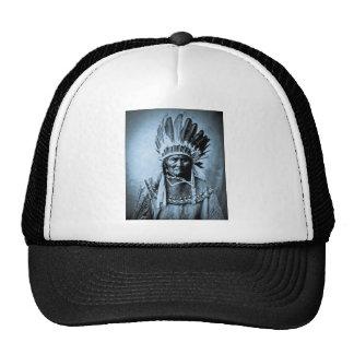 Geronimo in Head Dress Vintage Cyan Trucker Hat