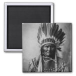 Geronimo in Head Dress Vintage Indian 2 Inch Square Magnet