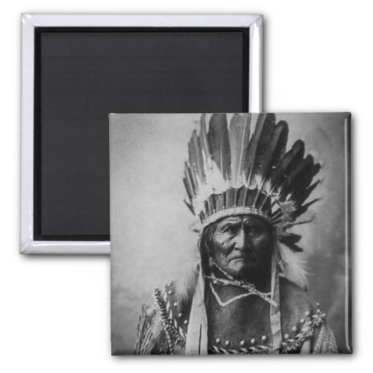Geronimo in Head Dress Vintage Indian Magnet