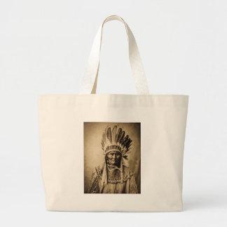 Geronimo in Head Dress Vintage Portrait Sepia Canvas Bag