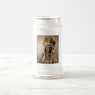 Geronimo in Head Dress Vintage Portrait Sepia Beer Stein