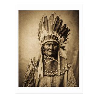 Geronimo in Head Dress Vintage Portrait Sepia Postcard