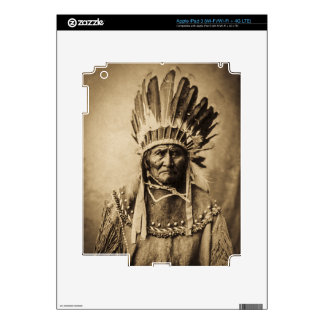 Geronimo in Head Dress Vintage Portrait Sepia Decals For iPad 3