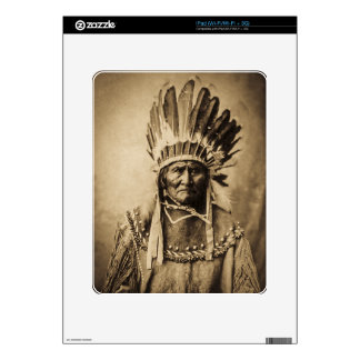 Geronimo in Head Dress Vintage Portrait Sepia Decals For The iPad