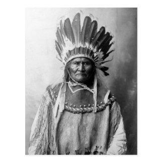 Geronimo in headdress 1907 postcard