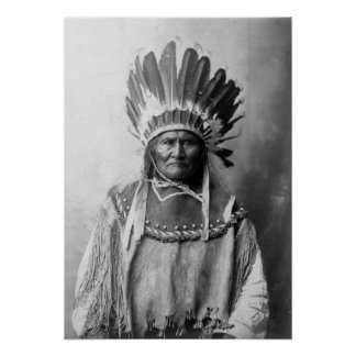 Geronimo in headdress 1907 poster