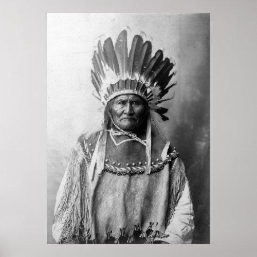 Geronimo in headdress 1907 poster