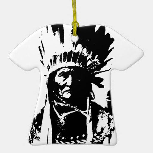 Geronimo negro y blanco adorno navideño de cerámica en forma de playera