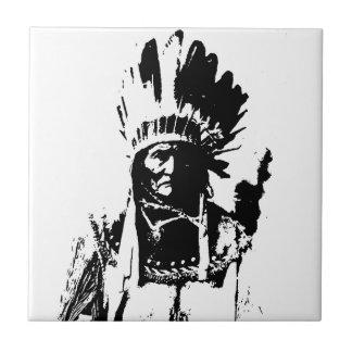 Geronimo negro y blanco azulejo cuadrado pequeño