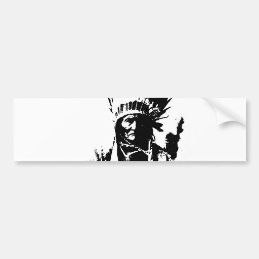 Geronimo negro y blanco etiqueta de parachoque
