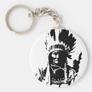 Geronimo negro y blanco llavero redondo tipo pin