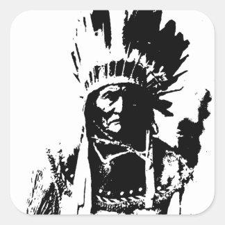 Geronimo negro y blanco pegatina cuadrada