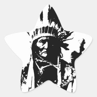 Geronimo negro y blanco pegatina en forma de estrella